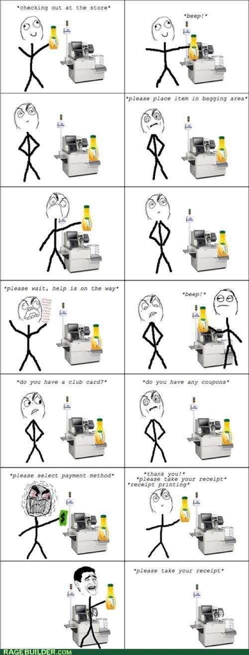 annoying,grocery store,help,Rage Comics,self checkout