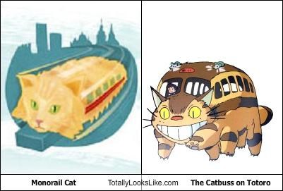 catbus,Cats,kitties,meme,monorail cat,totoro