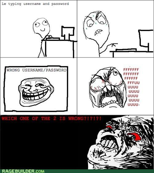 fu guy,password,Rage Comics,usernames,wrong