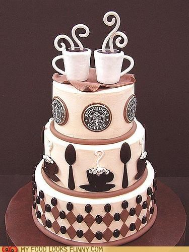 cake coffee fondant logos Starbucks wedding - 5038432512