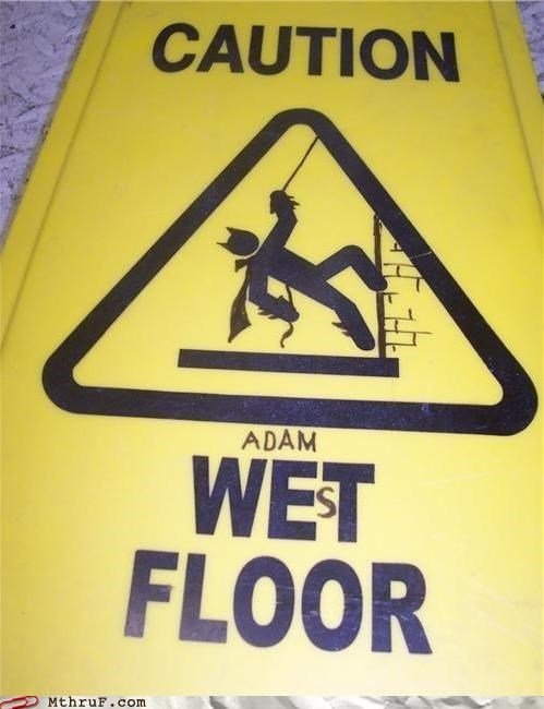 Adam West,batman,wet floor sign