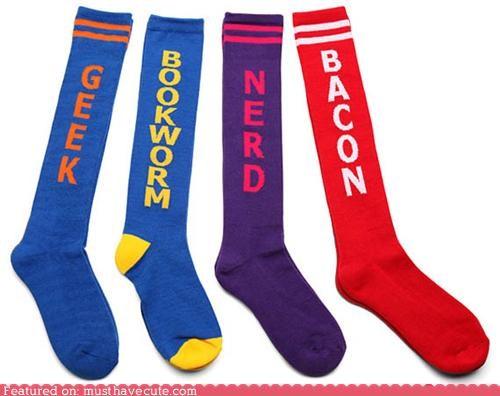 bacon geek nerd socks words - 5039067392