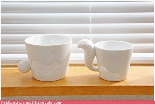 animals ceramic cups handles mugs tails white