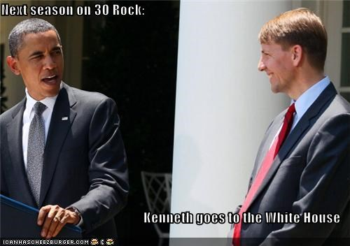 Next season on 30 Rock: Kenneth goes to the White House