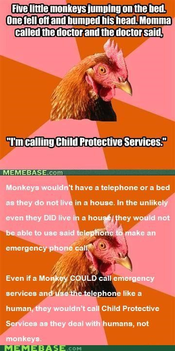 anti joke chicken,child,doctor,monkeys,protective,Reframe,services