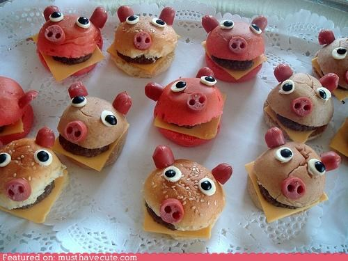 buns burgers cheese epicute faces meat piglets pig sliders - 5039232256