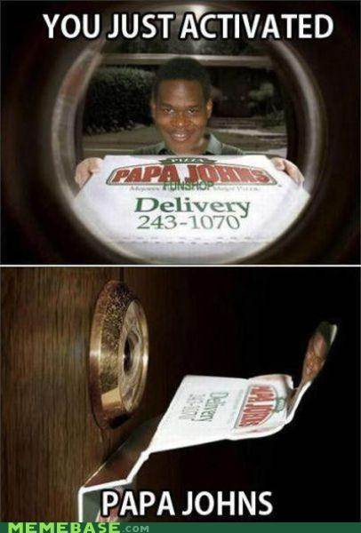 door,papa johns,peephole,pizza
