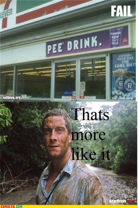 7 eleven,bear grylls,drink,pee,piss,TV