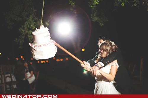 bride,funny wedding photos,groom,pinata