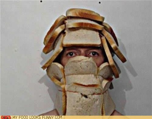 bread face hat helmet slices