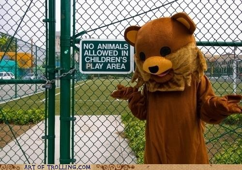 animals children IRL pedobear play area