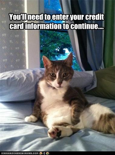 You'll need to enter your credit card information to continue....