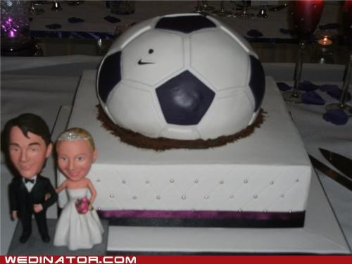 football,funny wedding photos,soccer,wedding cake
