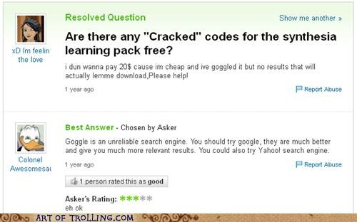 cracked,goggle,google,spelling,Yahoo Answer Fails