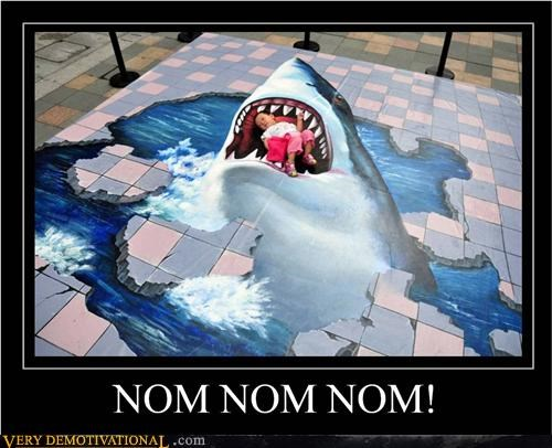 art hilarious nom nom shark sidewalk