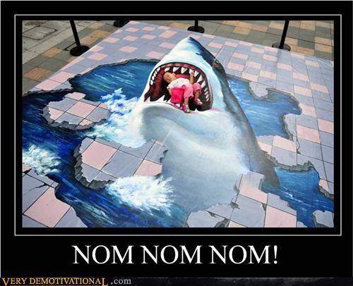art hilarious nom nom shark sidewalk - 5042298880