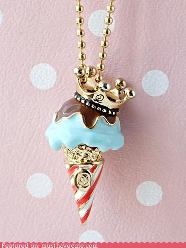 Bling chain charm crown ice cream Jewelry necklace pendant - 5042697472