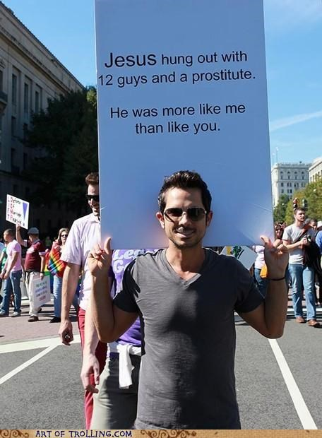 gay IRL jesus Protest rights sign - 5042948608