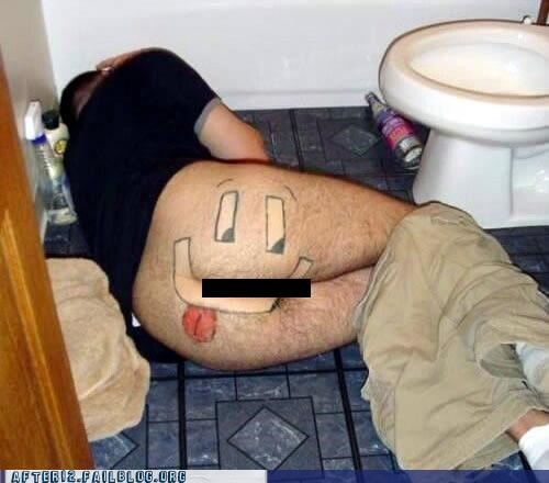 bathroom,floor,happy face,passed out,sharpie,shave
