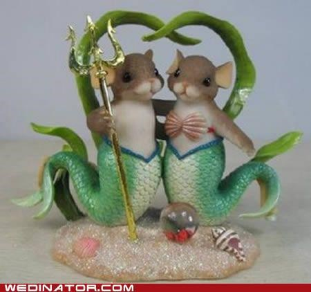 cake toppers,funny wedding photos,mermaid,mice,rats