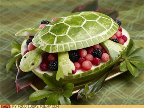 berries fruit salad sculpture turtle watermelon - 5044888320