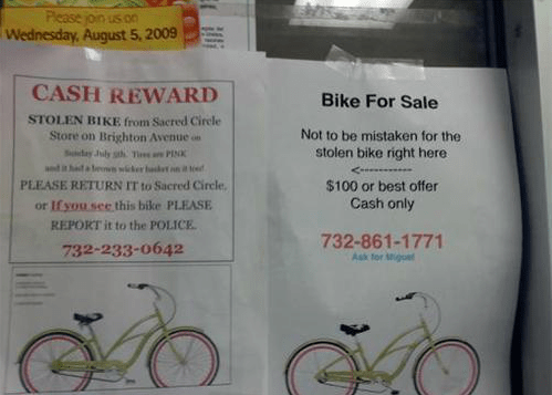 bike,IRL,reward,sign,stolen