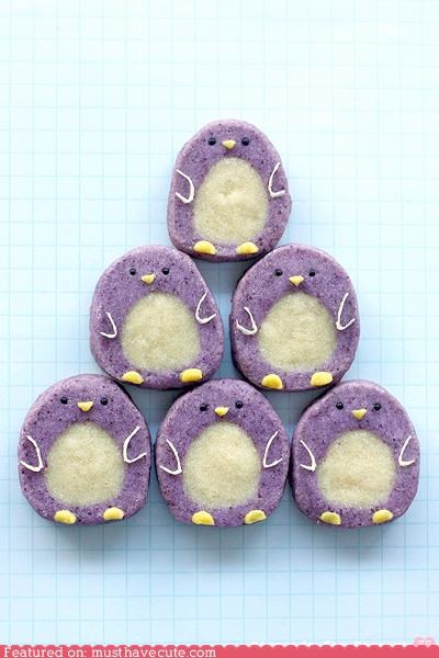 cookies,epicute,freezer cookies,penguins,purple,pyramid