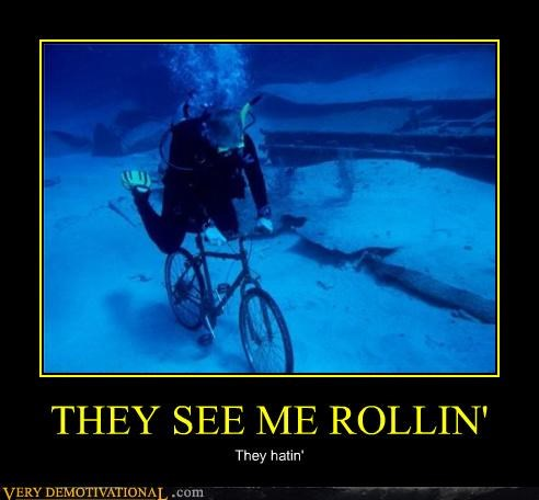 bicycle,hatin,hilarious,scuba diving,wtf