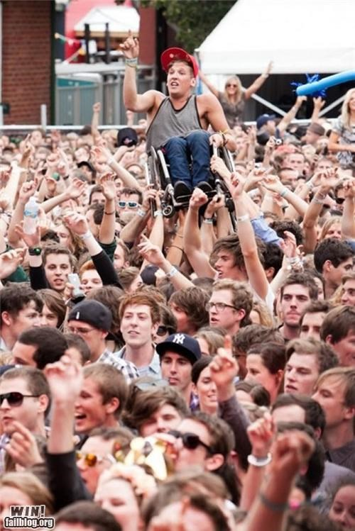 concert,crowd surf,inclusive,solidarity