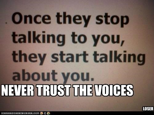 NEVER TRUST THE VOICES LOSER