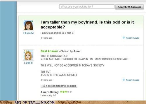 boyfriend height sinner taller Yahoo Answer Fails - 5045733888