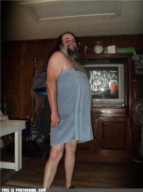 beard chest hair robe sexy times towel TV - 5045882624