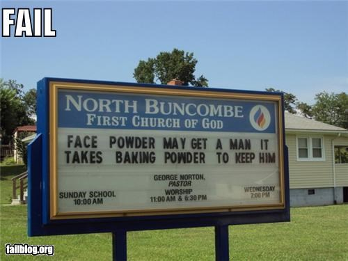 Church Sign failboat g rated Hall of Fame religion sexist - 5046036224