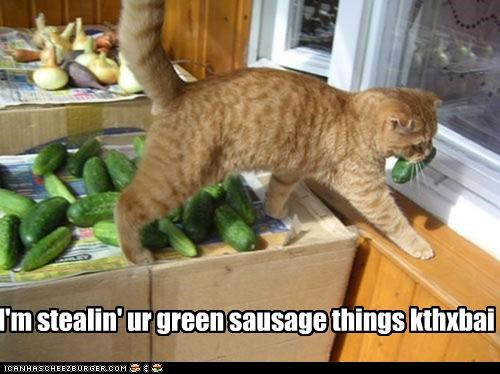 I'm stealin' ur green sausage things kthxbai