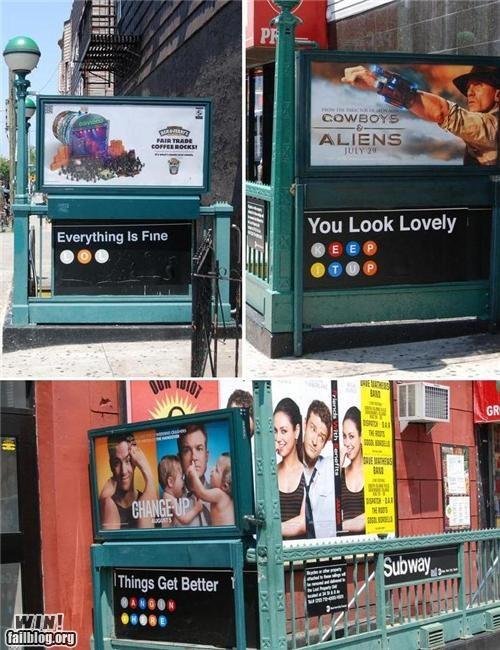 encouragement hacked sign Subway - 5046170368