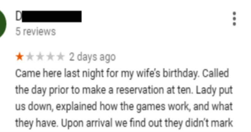 person gets called out for leaving a bad review