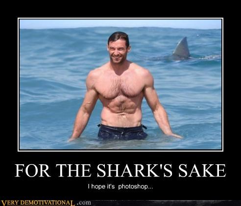 hilarious hugh jackman scary shark wolverine - 5046417408