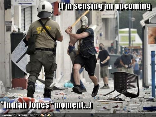 Indiana Jones police political pictures protesters