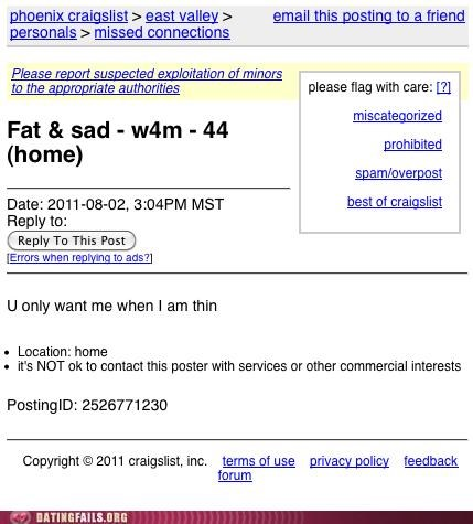 craigslist fat missed connections Sad thin We Are Dating weight - 5046588672