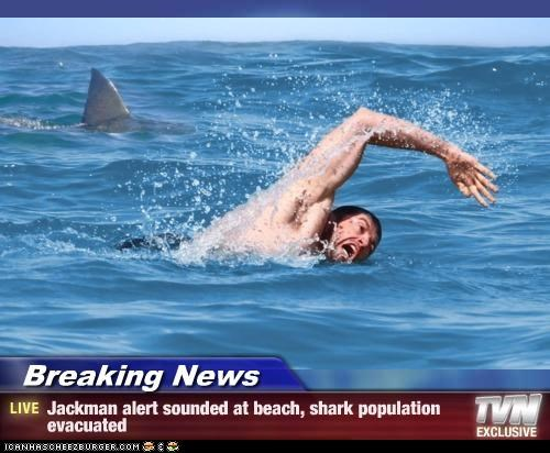 Breaking News - Jackman alert sounded at beach, shark population evacuated