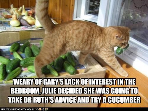 WEARY OF GARY'S LACK OF INTEREST IN THE BEDROOM, JULIE DECIDED SHE WAS GOING TO TAKE DR RUTH'S ADVICE AND TRY A CUCUMBER
