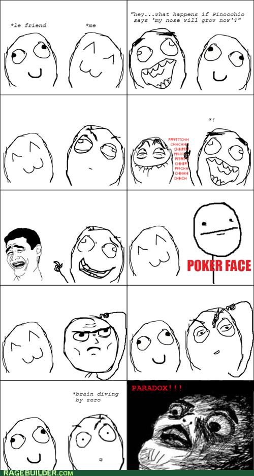grow,nose,oh god,pinocchio,poker face,Rage Comics