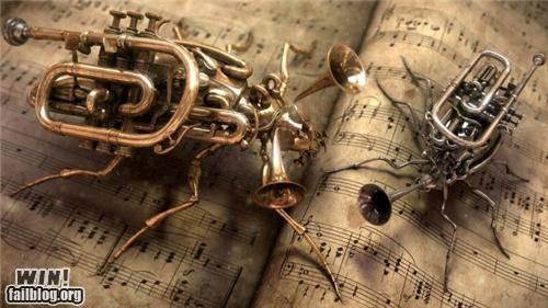 art,brass,bugs,insects,instruments