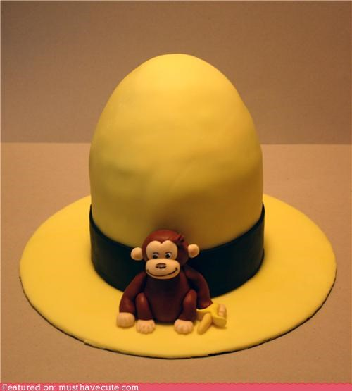 cake,Curious George,epicute,fondant,hat,monkey,yellow