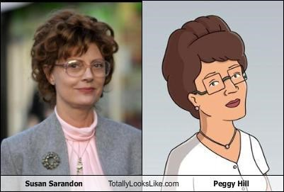 actress,actresses,brunettes,cartoon characters,classics,glasses,King of the hill,peggy hill,susan sarandon