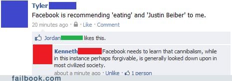 cannibalism justin bieber recommendations witty reply