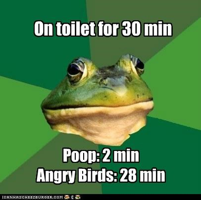 angry birds foul bachelor frog iphone poop toilet video games - 5047145984