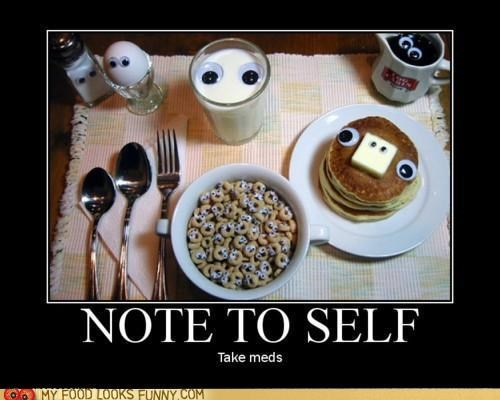 breakfast,cereal,egg,faces,googly eyes,milk,pancakes,Staring,syrup