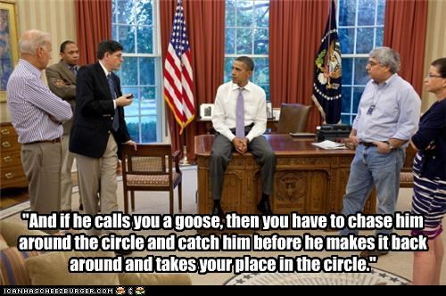 barack obama,duck duck goose,games,meeting,Oval Office,politicians,president,Pundit Kitchen