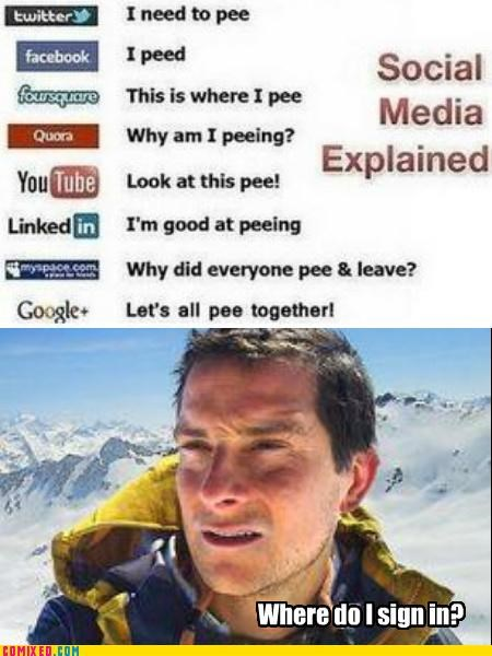 bear grylls,network,piss,social media,the internets